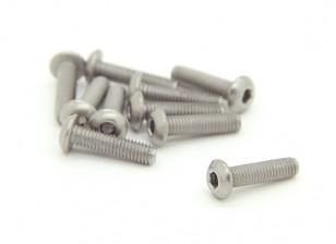 Titanium M3 x 12mm dôme à tête hexagonale Vis (10pcs / bag)