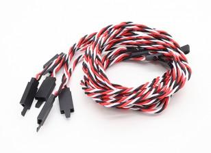 Twisted 80cm Servo Extention Lead (Futaba) avec crochet 22AWG (5pcs / bag)