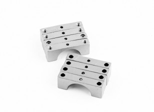 Argent anodisé double face CNC en aluminium Tube Clamp 14mm Diamètre