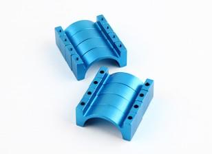 Bleu anodisé double face CNC en aluminium Tube Clamp 25mm Diamètre