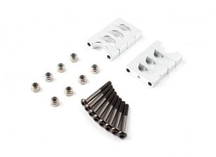 Argent anodisé double face CNC en aluminium Tube Clamp 10mm Diamètre