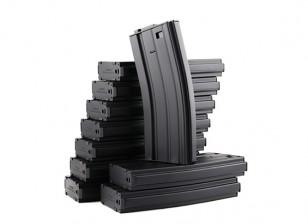 King Arms 120b magazines métalliques rondes pour les séries Marui M4 / M16 AEG (noir, 10pcs / box)