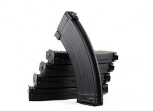 King Arms de magazines en métal pour les séries Marui AK AEG (Black, 5pcs / box)