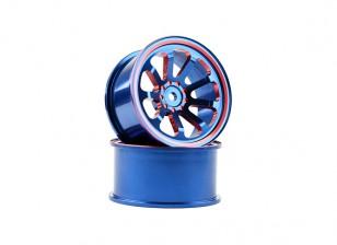 HobbyKing 1/10 Aluminium 9-Rayon Bleu / Rouge Drift Wheel (2pc)
