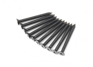 Screw Flat Head Phillips M2.6x26mm Self Tapping Steel Black (10pcs)