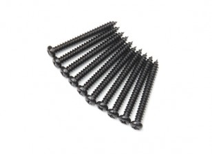 Screw Round Head Phillips M2.6x24mm Self Tapping Steel Black (10pcs)