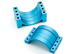 Bleu anodisé CNC tube en alliage de demi-cercle de serrage (incl.screws) 20mm