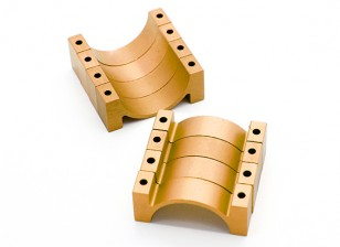Or anodisé CNC DemiCercle alliage Tube Clamp (incl.screws) 30mm