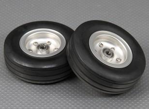 90mm Roue Echelle Jet / Warbird alliage w / Rainure Rubber Tire / sur roulements (2pc)