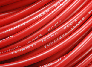 Turnigy Pure-silicone Fil 10AWG 1m (Rouge)