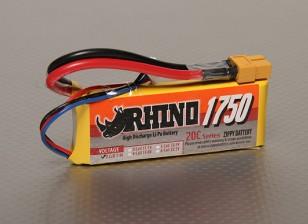 Rhino 1750mAh 2S 7.4v 20C Lipoly Paquet