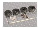 Aluminium couleur titane Adapteurs roue avec vis de blocage - 4mm (12mm Hex)