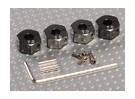 Aluminium couleur titane Adapteurs roue avec vis de blocage - 7mm (12mm Hex)