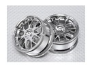 Échelle 1:10 Wheel Set (2pcs) 7-Spoke 26mm de voiture RC Chrome 'Y' (Pas de décalage)