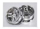 Échelle 1:10 Wheel Set (2pcs) Chrome division 3-Spoke 26mm de voiture RC (Pas de décalage)