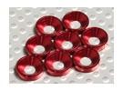 Fraisée Rondelle en aluminium anodisé M4 (Rouge) (8pcs)