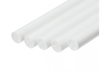 ABS Round Rod 8.0mm x 500mm White (Qty 5)