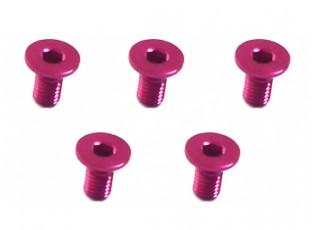 Screw Flat Head Hex M3x6mm Machine Thread 7075 Aluminum Pink (5pcs)