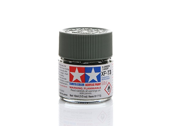 Tamiya XF-73 Flat Dark Green Mini Acrylic Paint (10ml)