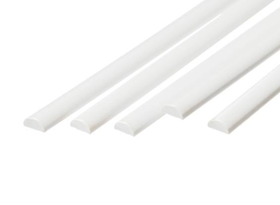 ABS Half Round Rod 6.0mm x 500mm White (Qty 5)
