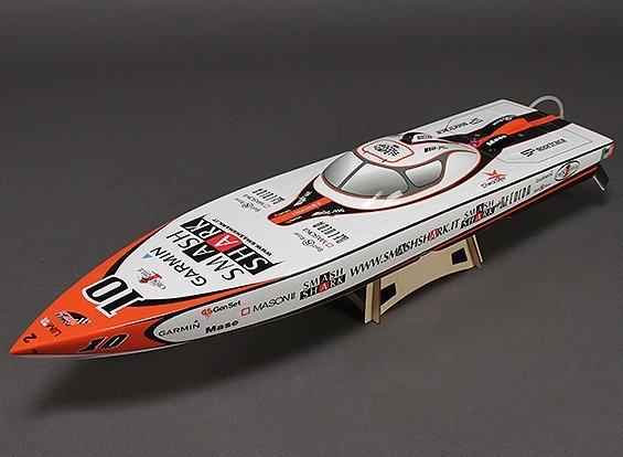 SCRATCH/DENT - Smash Shark Fiberglass Offshore Racing Boat w/Motor (840mm) E1145