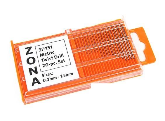 Zona 20pc High-Speed-Spiralbohrer-Set (.3mm-1.5mm)