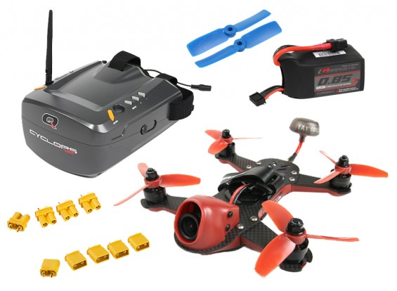 ImmersionRC Vortex 150 Drone Quanum Cyclops V2 FPV Goggle with Batteries and Parts Super Combo Set-Day5