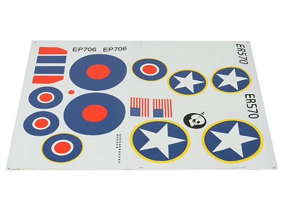 Durafly ™ Spitfire Mk5 Wüste Scheme RAF UND USAAF Decal Sheet