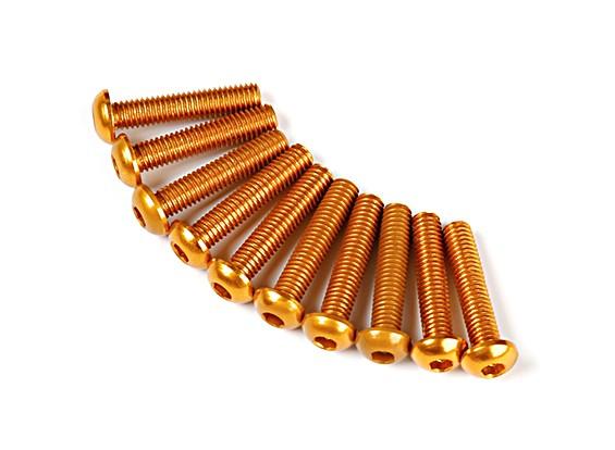 7075 Alu. M3 Halbrundkopfschrauben 14mm Gold