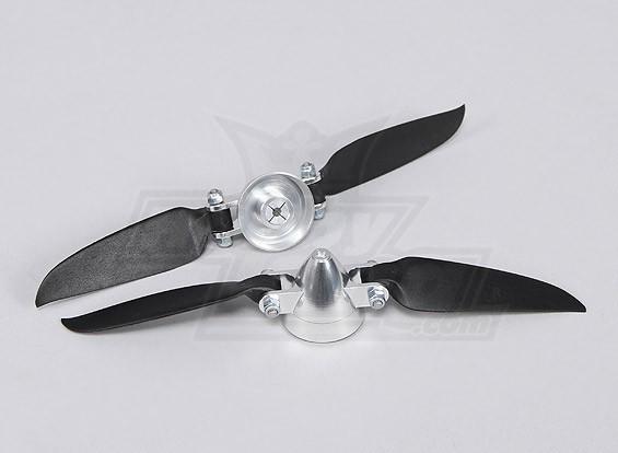 Folding Propeller Assembly 7x3 (Alloy / Nabe Spinner) (2pc / bag)