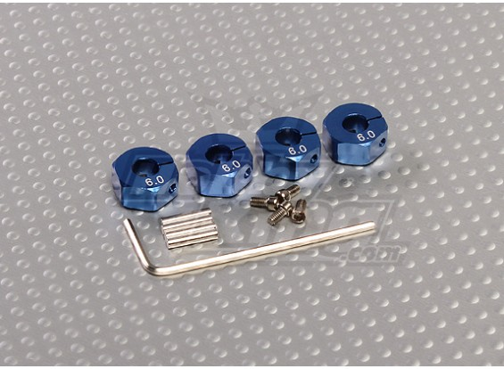Blau Aluminiumrad-Adapter mit Sicherungsschrauben - 6 mm (12 mm Hex)