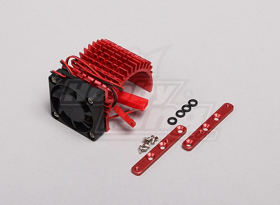 Red Aluminum Motor Heat Sink w / einstellbare Lüfter (Seite) 36mm Inrunner