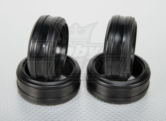 Maßstab 1:10 weiche Gummi Drift Reifen w / Abnehmbare Hartplastik Ringe RC Car 26mm (4pcs / set)