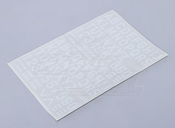 Buchstaben / Zahlen / Symbole weiß 26mm
