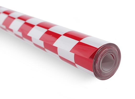 Bedecken Film Chequer-Arbeit Rot / Weiß Klein (20mm) Squares (5mtr)