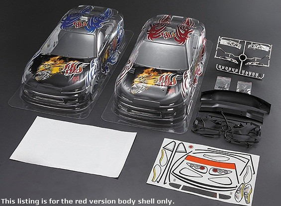 1/10 S15 Car Body Shell w / vorgedruckten Graphics (190mm) - Red Version