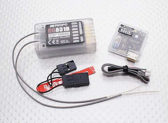 JR RG831B 8-Kanal Full Range 2,4 GHz DMSS Empfänger w / Telemetrie