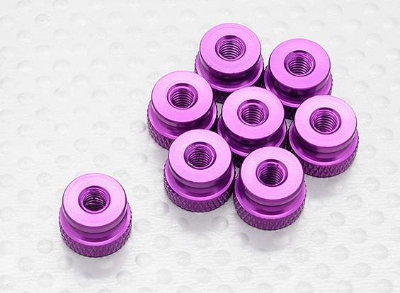 Knurled Legierung Latch Mutter M4 Anodised Purple (8pc)