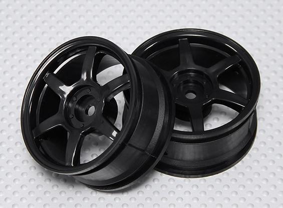 Maßstab 1:10 Rad Set (2 Stück) Schwarz 6-Speichen-RC Car 26mm (kein Offset)