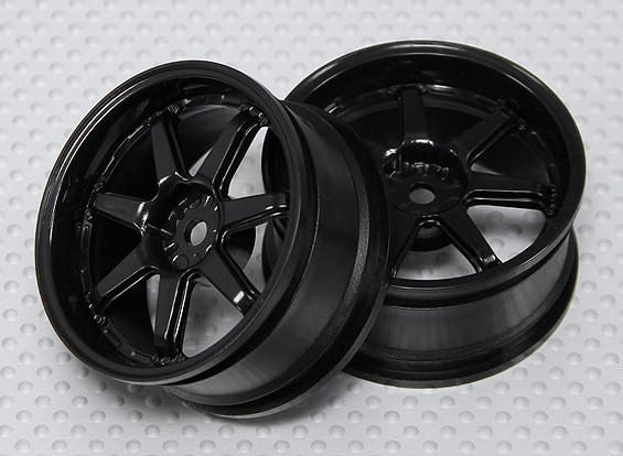 Maßstab 1:10 Rad Set (2 Stück) Black 7-Speichen-RC Car 26mm (3mm Offset)