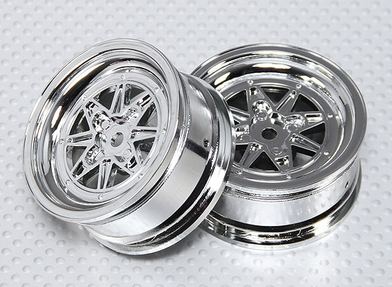 Maßstab 1:10 Rad Set (2 Stück) Chrom-Retro 7-Speichen-RC Car 26mm (kein Offset)