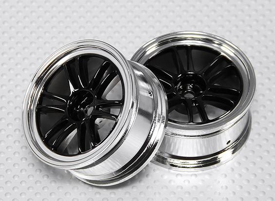 Maßstab 1:10 Wheel Set (2 Stück) Schwarz / Chrom Split 6-Speichen-RC Car 26mm (kein Offset)
