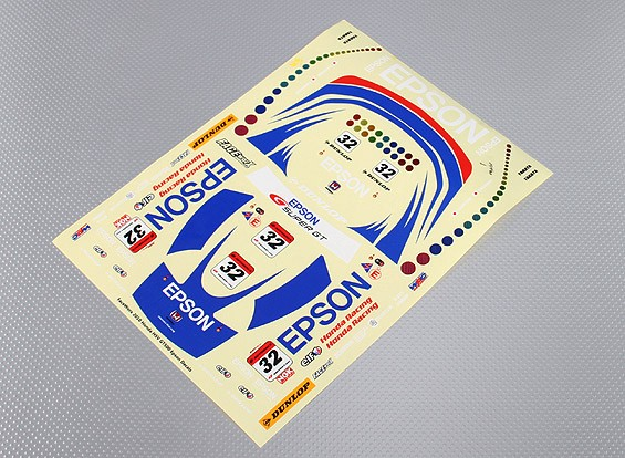 Self Adhesive Decal Sheet - Epson Racing Maßstab 1:10