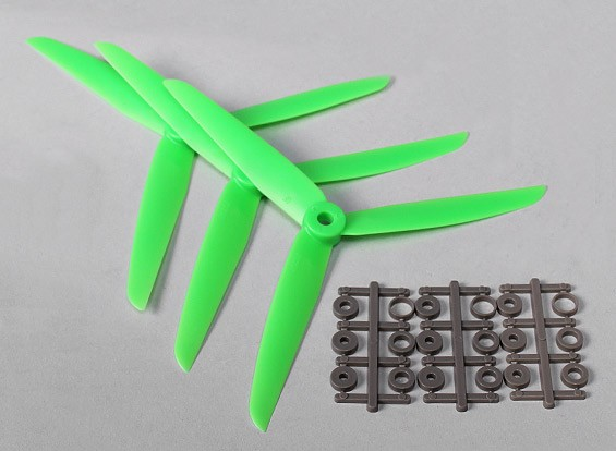 Hobbyking ™ 3-Blatt Propeller 7x3.5 Green (CW) (3pcs)