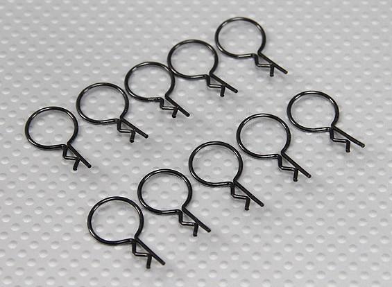 Large-Ring Body Clips (Black) (10 Stück)