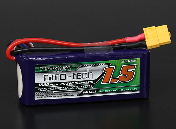 Turnigy Nano-Tech-1500mAh 3S 25 ~ 50C Lipo-Pack