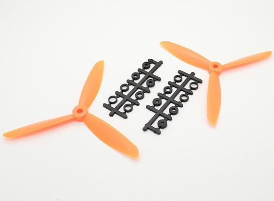 Hobbyking ™ 3-Blatt Propeller 6x4,5 Orange (CW / CCW) (2 Stück)