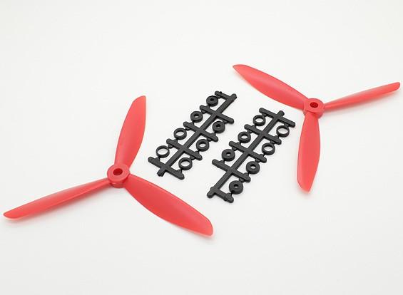 Hobbyking ™ 3-Blatt Propeller 6x4,5 Rot (CW / CCW) (2 Stück)