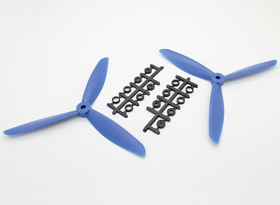 Hobbyking ™ 3-Blatt Propeller 7x4.5 Blau (CW / CCW) (2 Stück)