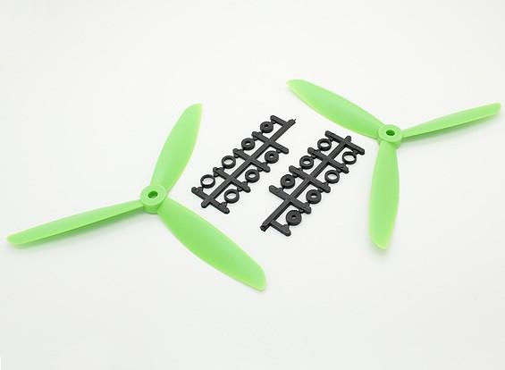 Hobbyking ™ 3-Blatt Propeller 7x4.5 Green (CW / CCW) (2 Stück)